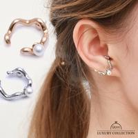 9am jewelry&accessory   イヤーカフ 片耳用 パール 重ね付け レディース  金属アレルギー対応 上品  ウェーブ ゴールド