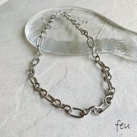 feu | Various Oval Necklace   アクセントチェーン 大ぶりチェーン ステンレス アレルギー対応 トレンド 韓国ファッション