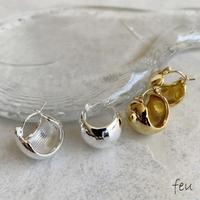 feu | wide width Pierce     フープピアス ステンレス素材 アレルギー対応 シンプル ボリューム 韓国ファッション