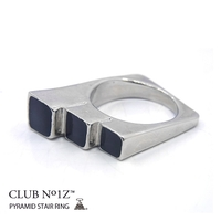 本格派大人のB系    指輪【CN-RI-ME-007】【Fサイズ】CLUB NO1Z/クラブノイズ≪PYRAMID STAIR RING≫男女兼用ピラミッドステアリング ブラックステップ リング アクセサリー