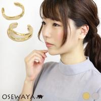 osewaya | 〇イヤーカフ ニッケルフリー 2連風xハンマーワーク メタル イヤリング 【2個セット】[お世話や][osewaya]