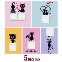 スイッチステッカー ウォールステッカー ウォールシール 壁シール 壁紙シール 壁面装飾 壁装飾 室内装飾 黒猫 クロネコキャットCAT 電気スイッチ DIY 子供部屋 こども部屋 リビング 寝室 可愛い