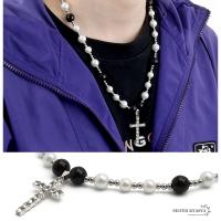 ネックレス メンズ パールネックレス クロス 十字架 キュービックジルコニア CZ pearl necklace ストリート silver 銀色 金属 ステンレス アレルギーフリー