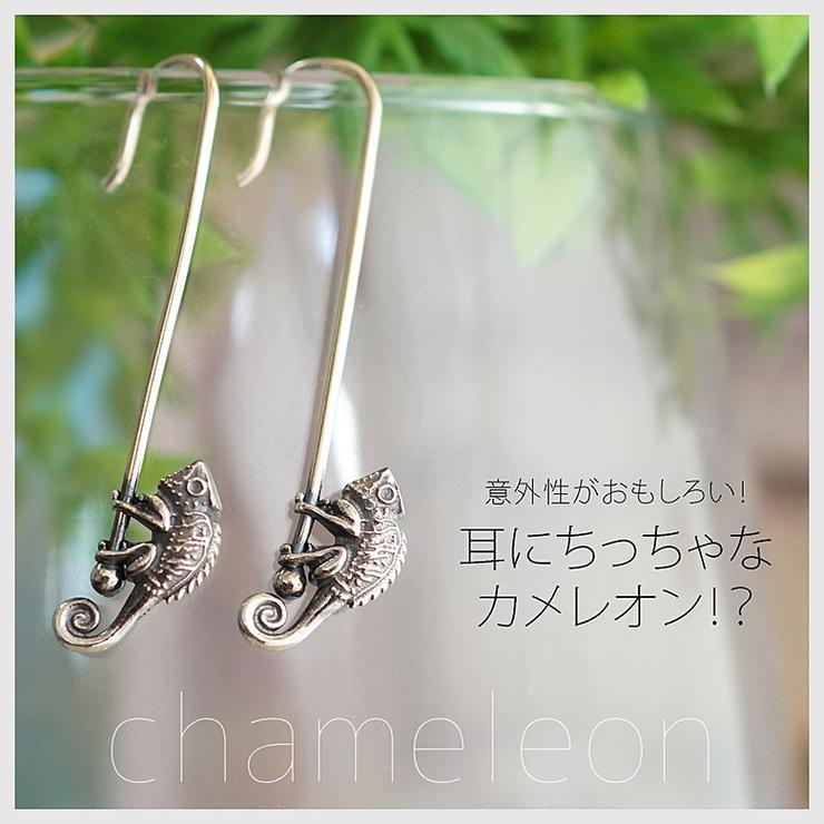 ◆pi0486 耳にちっちゃなカメレオン!?シルバーピアス両耳用売り | 2PIECES  | 詳細画像1