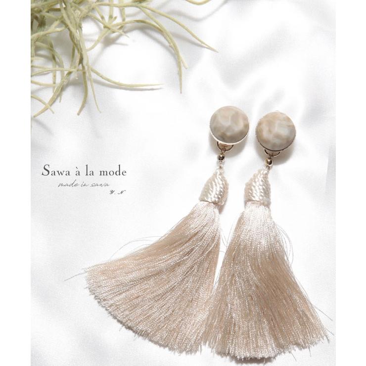 ボリュームフリンジのタッセルイヤリング レディース ファッション   Sawa a la mode   詳細画像1