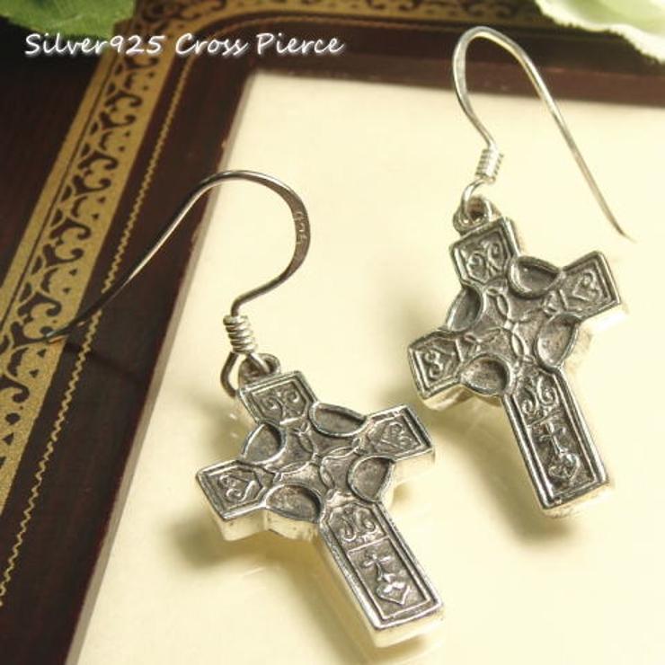 【シルバーピアス】先端にまるい模様のついた小さめのクロス十字架揺れサガリピアス【レディースピアス】 | 詳細画像