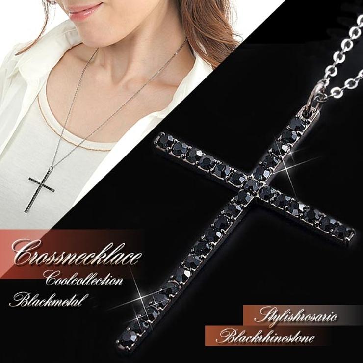 ◆ユニセックス◆ブラッククロスネックレス | 詳細画像