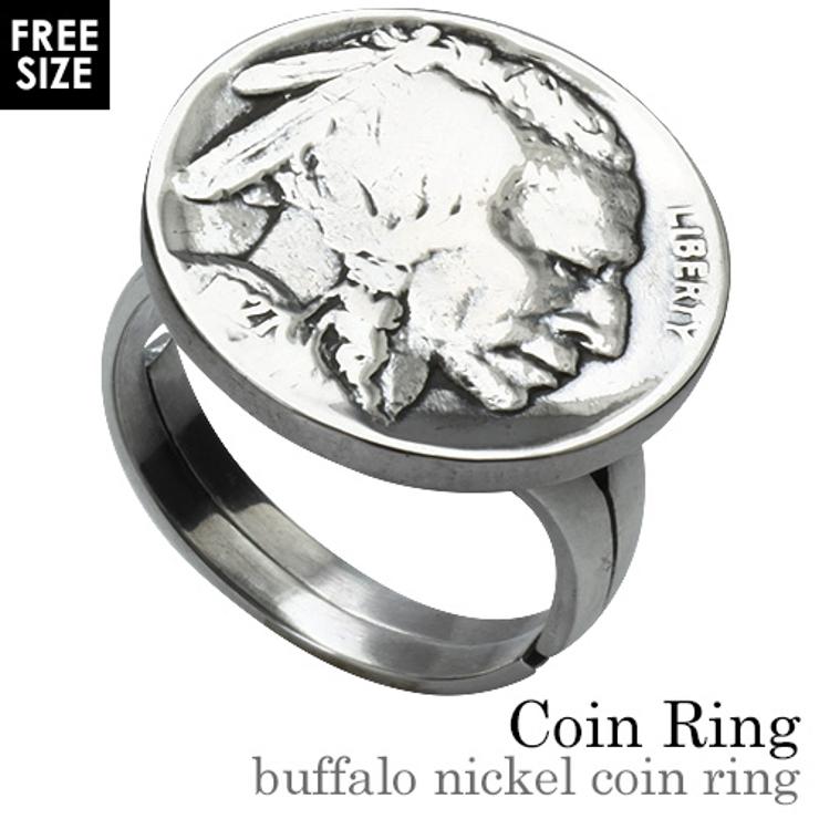 バッファローニッケルコインリング本物の硬貨アメリカ5セント指輪Binichビニッ…   シルバーアクセサリーBinich    詳細画像1
