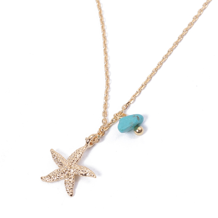 ボヘミアンモチーフネックレスアクセサリージュエリーゴールドパーティーペンダントレディースプレゼントマリンサマーシンプル上品スター星型サンゴ巻き貝   詳細画像