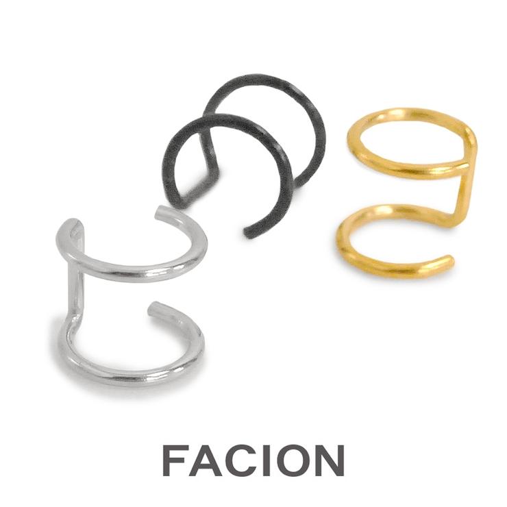 片耳ステンレス2ラインイヤーカフ ノンホール シルバー | FACION | 詳細画像1