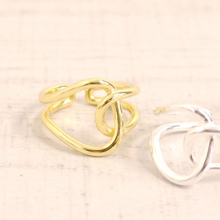 ニュアンスカーブラインリング 指輪シルバーゴールドゆがみウェーブ変形   FACION   詳細画像1