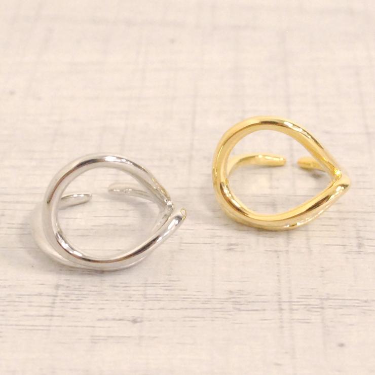 オープンニュアンスメタルピンキーリング 指輪変形デザイン個性的   FACION   詳細画像1