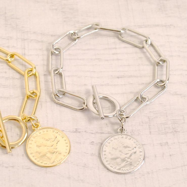 英国コイン付チェーンブレスレットメダル鎖プチプラ人気インスタ   FACION   詳細画像1