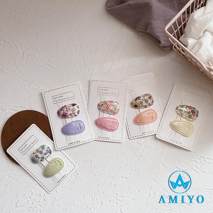フラワープリント×くすみカラーヘアピンセット 8533 | Amiyo | 詳細画像1