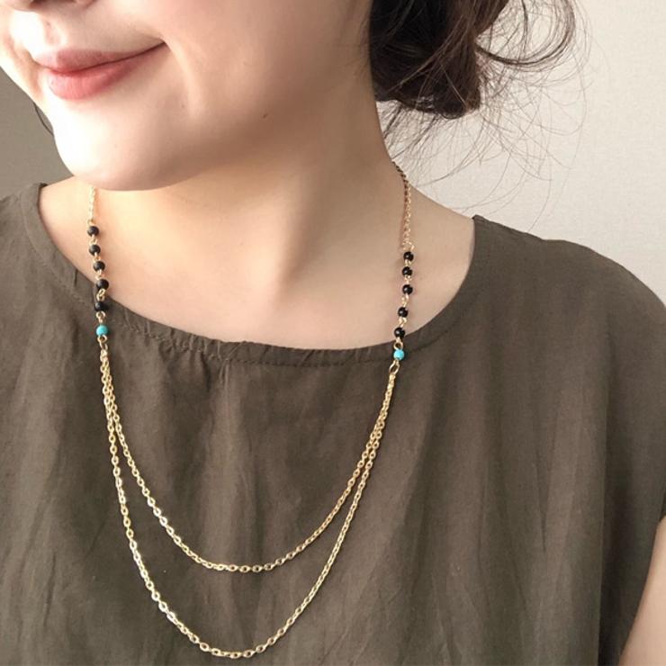 ビーズ 2連 ネックレス   gulamu jewelry    詳細画像1