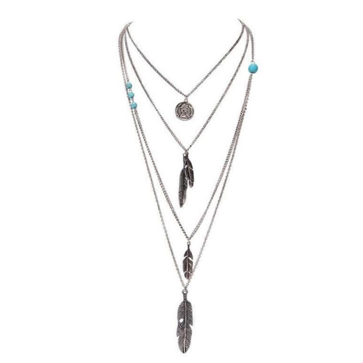コイン フェザー 4連ネックレス | gulamu jewelry  | 詳細画像1