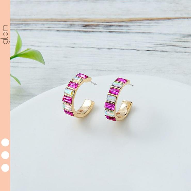 ラインストーン ゴールド フープ | gulamu jewelry  | 詳細画像1