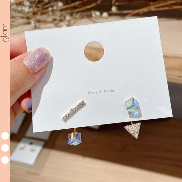 レインボーキューブ トライアングル ラインストーン | gulamu jewelry  | 詳細画像1