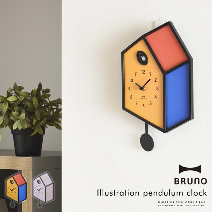 BRUNO イラスト 振り子 クロックブルーノ 時計 壁掛け おしゃれ かわいい 振り子時計 鳥 アナログ 寝室 リビング 大人 だまし絵 ユニーク ギフト プレゼント 母の日 父の日 おうち時間 インテリア | 詳細画像
