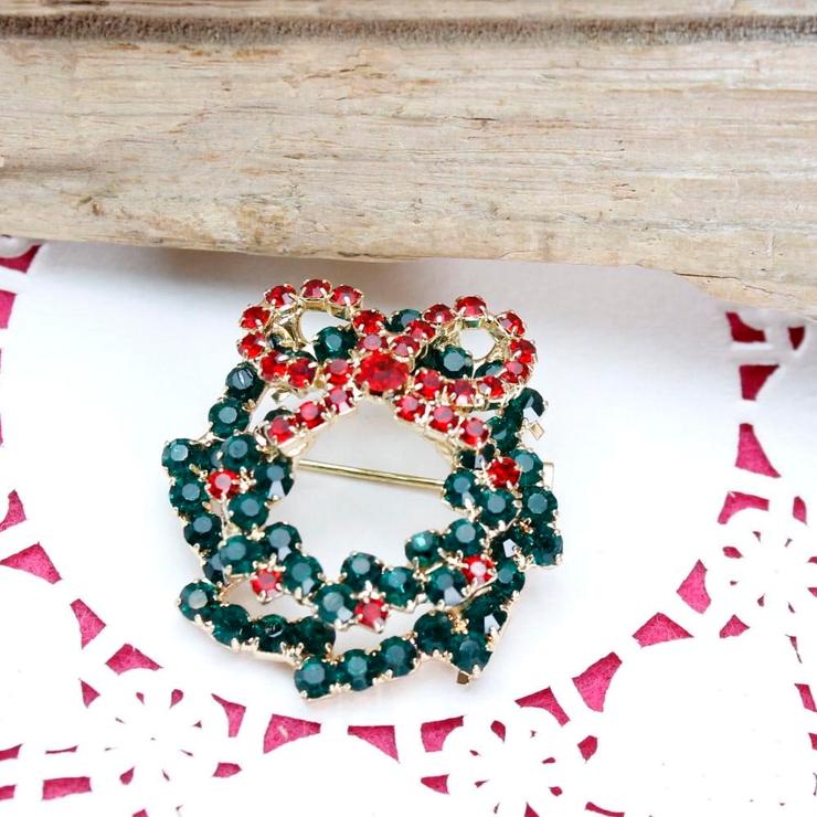 再入荷 クリスマス りぼんのついたリースブローチ | lunolumo | 詳細画像1