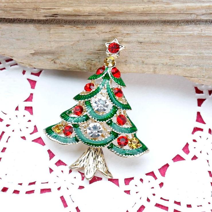クリスマス カラフルなツリーのブローチ | lunolumo | 詳細画像1