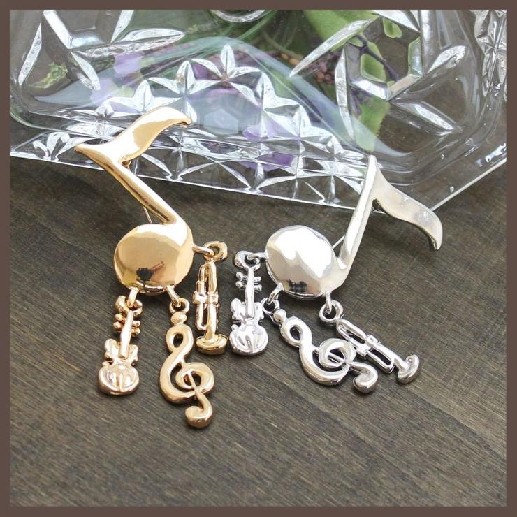 音符と楽器のブローチ 2色   lunolumo   詳細画像1