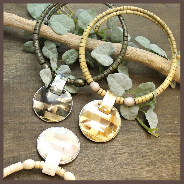 天然素材 シェルトップのチョーカーネックレス 3色 N | lunolumo | 詳細画像1