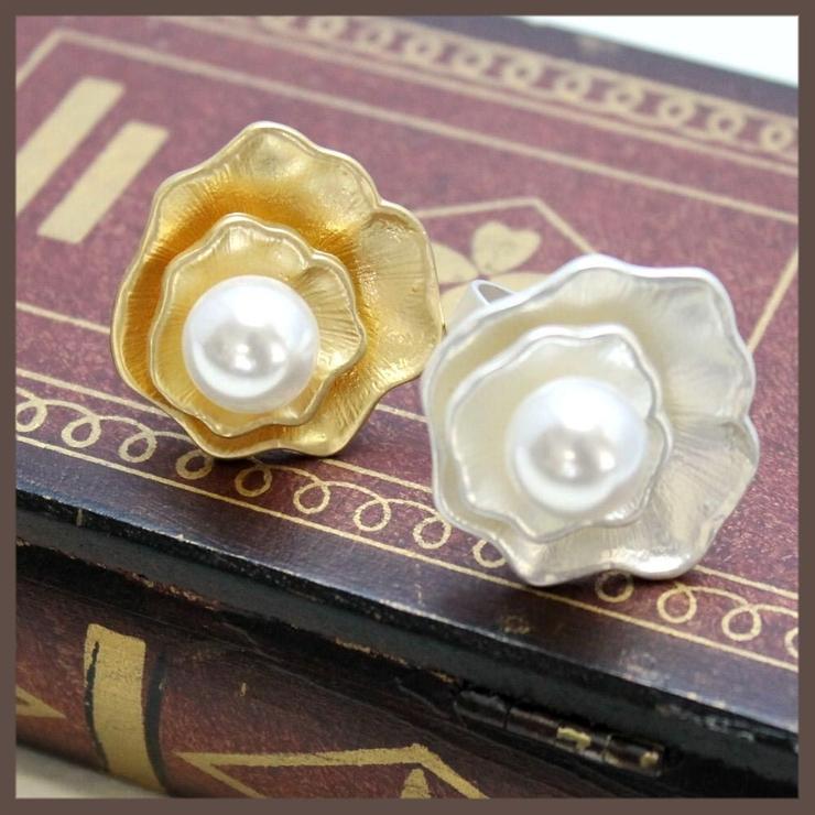 シェルメタルとパールのリング 2色 | lunolumo | 詳細画像1