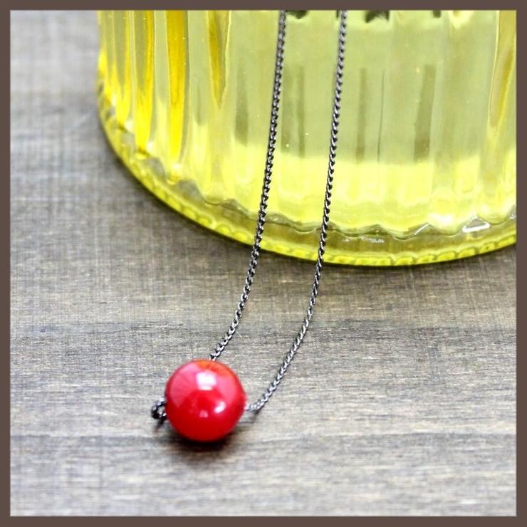 塗り赤の1粒ネックレス | lunolumo | 詳細画像1