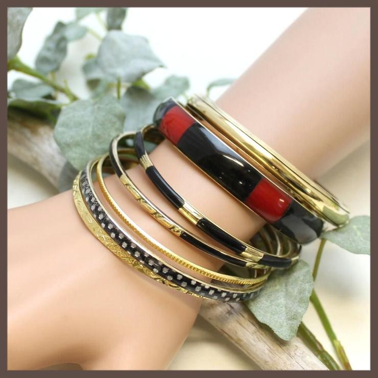 赤と黒のバイカラーバングルブレスレット | lunolumo | 詳細画像1