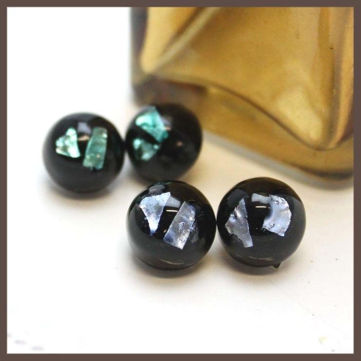 イタリア 黒と箔のベネチアンガラスイヤリング | lunolumo | 詳細画像1