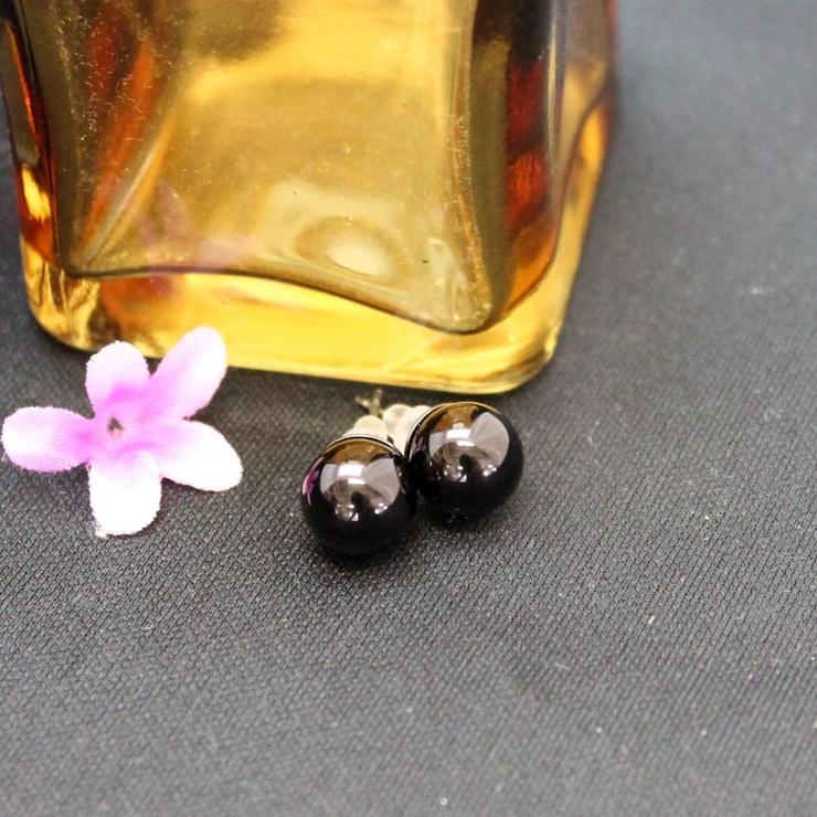 10mm玉のブラックボールピアス | lunolumo | 詳細画像1