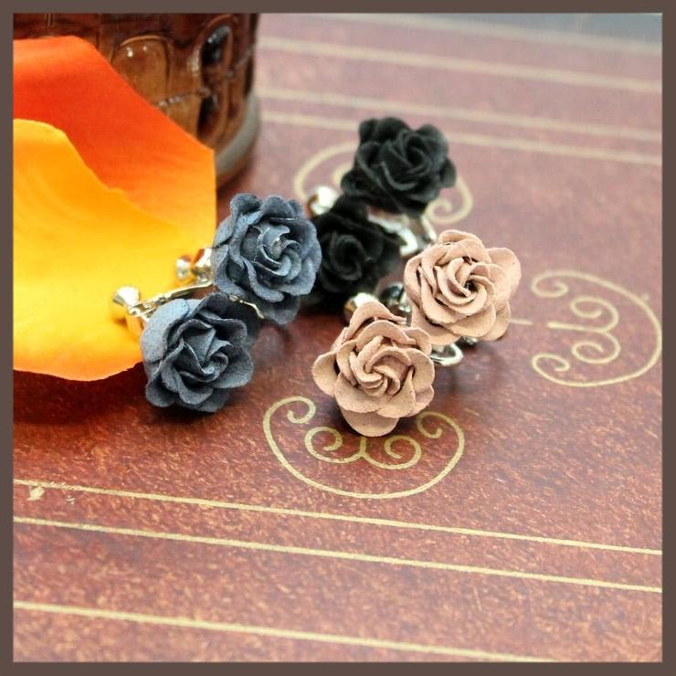 ワンカラーの薔薇イヤリング | lunolumo | 詳細画像1