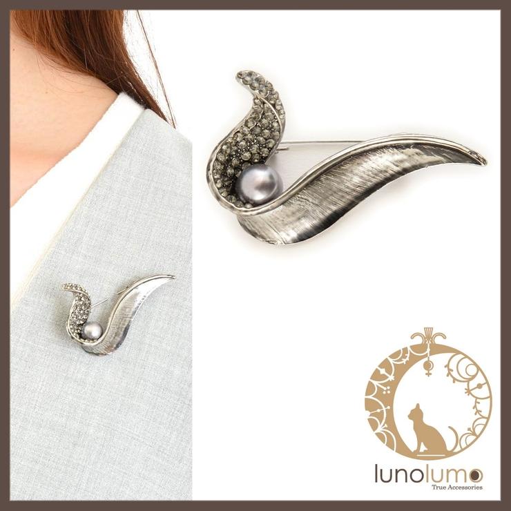 グレーパールのデザインブローチ | lunolumo | 詳細画像1