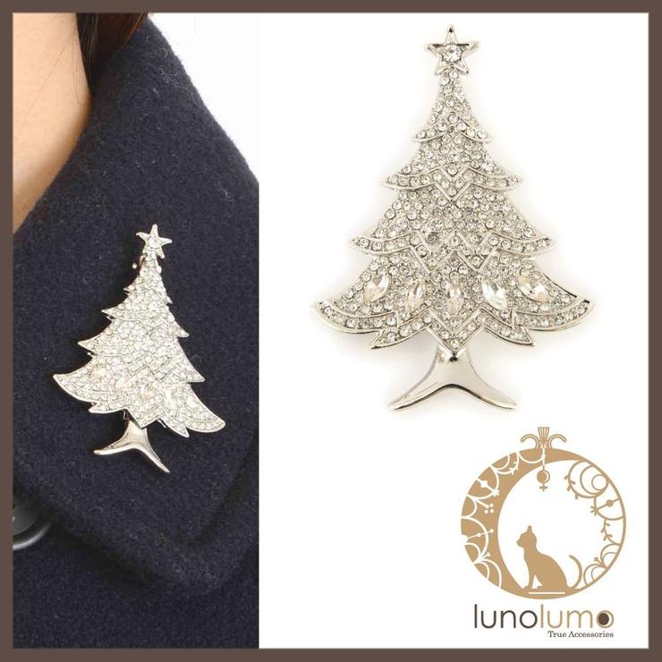 クリスマス ビジュツリーのキラキラブローチ   lunolumo   詳細画像1