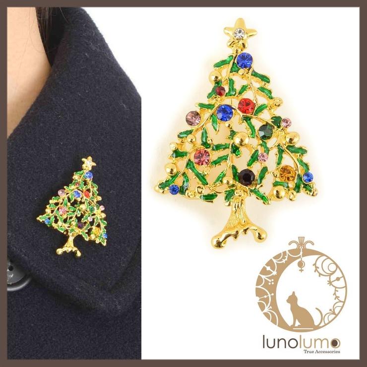 クリスマス カラフルツリーのデザインブローチ   lunolumo   詳細画像1