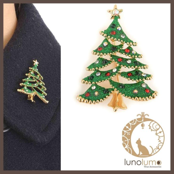 クリスマス グリッターツリーのデザインブローチ | lunolumo | 詳細画像1