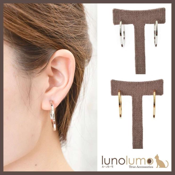 幅広シンプルデザインの3cmフープイヤリング | lunolumo | 詳細画像1