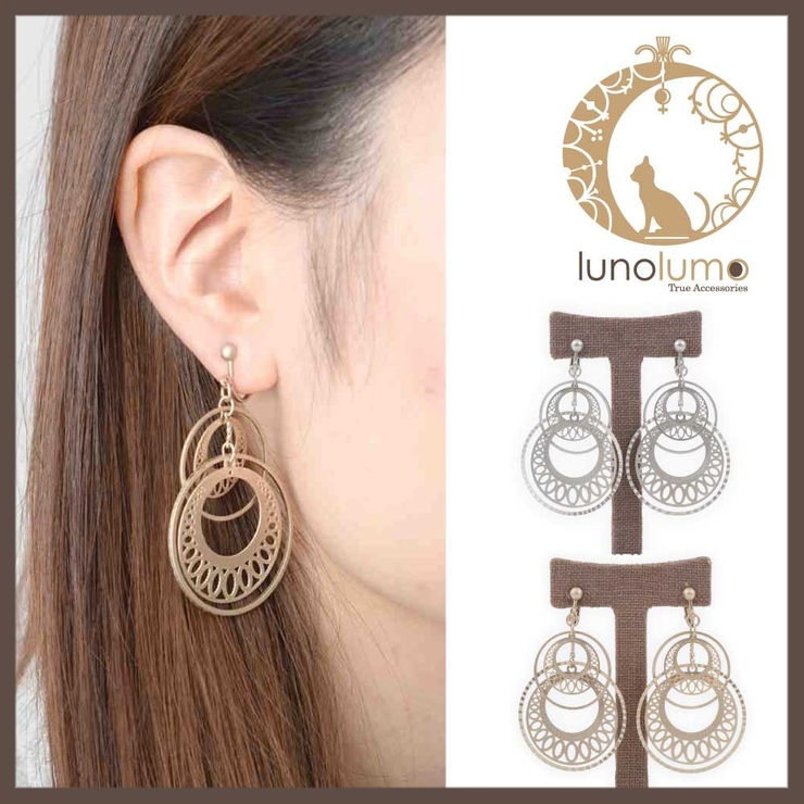 艶消しメタルのオリエンタルイヤリング | lunolumo | 詳細画像1