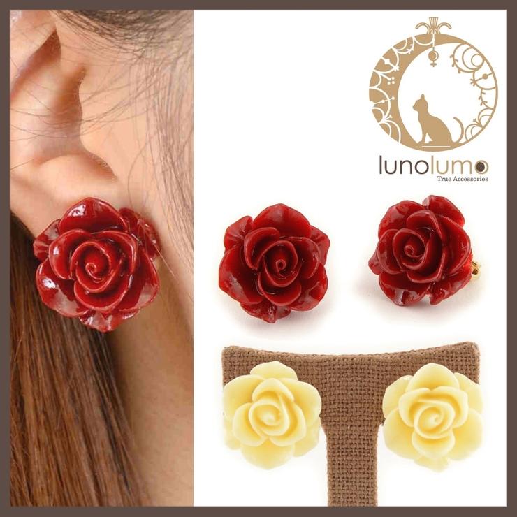 薔薇モチーフのデザインイヤリング   lunolumo   詳細画像1