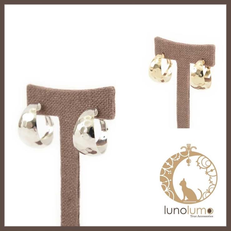 表面加工の幅広フープピアス   lunolumo   詳細画像1