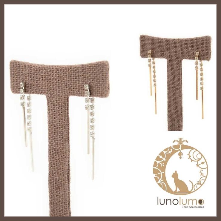 ラインストーンとメタルバーのピアス 飾りキャッチ | lunolumo | 詳細画像1