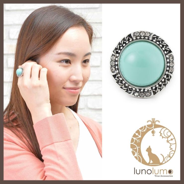 ターコイズエスニックのサークルストレッチリング 指輪 | lunolumo | 詳細画像1