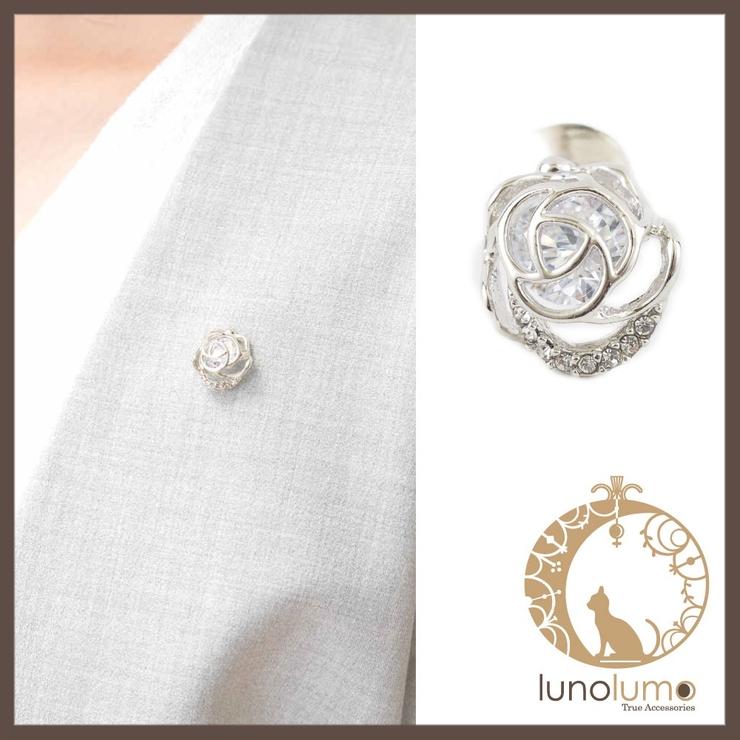 薔薇モチーフのキュービックジルコニアピンブローチ | lunolumo | 詳細画像1
