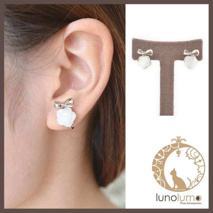 シェルローズとりぼんのイヤリング | lunolumo | 詳細画像1