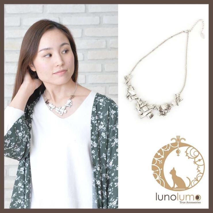 デザインメタルのショートネックレス N | lunolumo | 詳細画像1