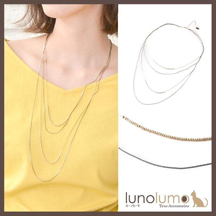 ブラックゴールドの4連チェーンネックレス | lunolumo | 詳細画像1