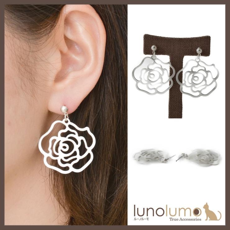 薔薇モチーフのホワイトメタルピアス | lunolumo | 詳細画像1