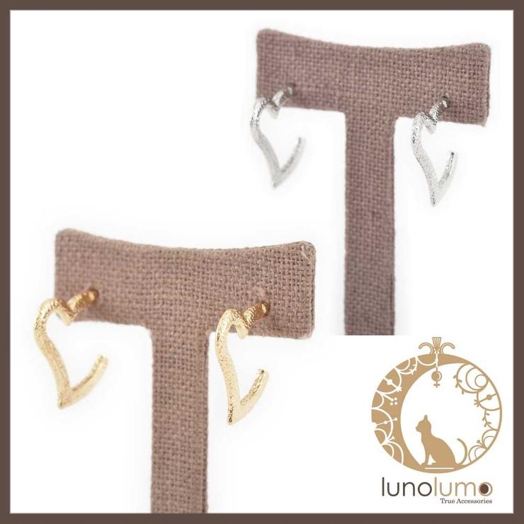ハートデザインのフープピアス   lunolumo   詳細画像1