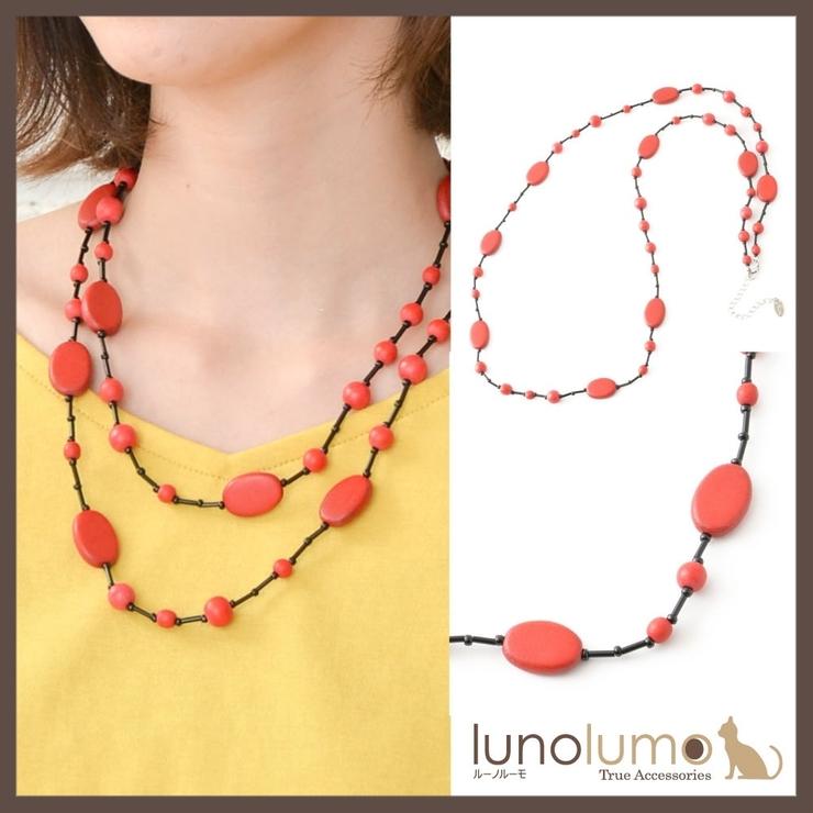 天然素材 ブラックレッドのウッドネックレス N   lunolumo   詳細画像1